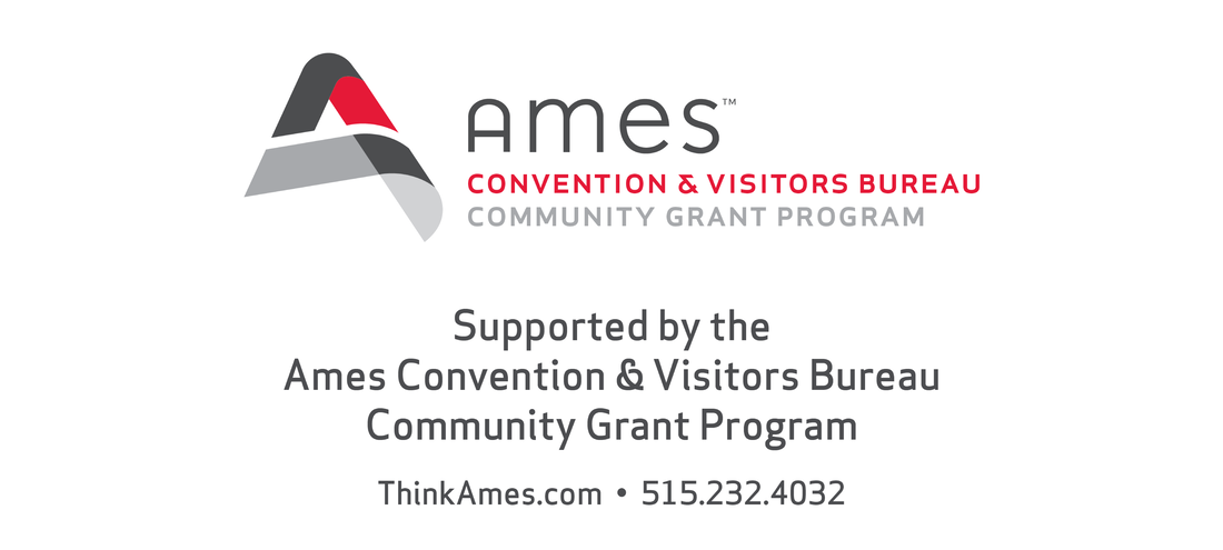 Logo of Ames Convention and Visitors Bureau with additional text: Supported by the Ames Convention and Visitors Bureau Community Grant Program.