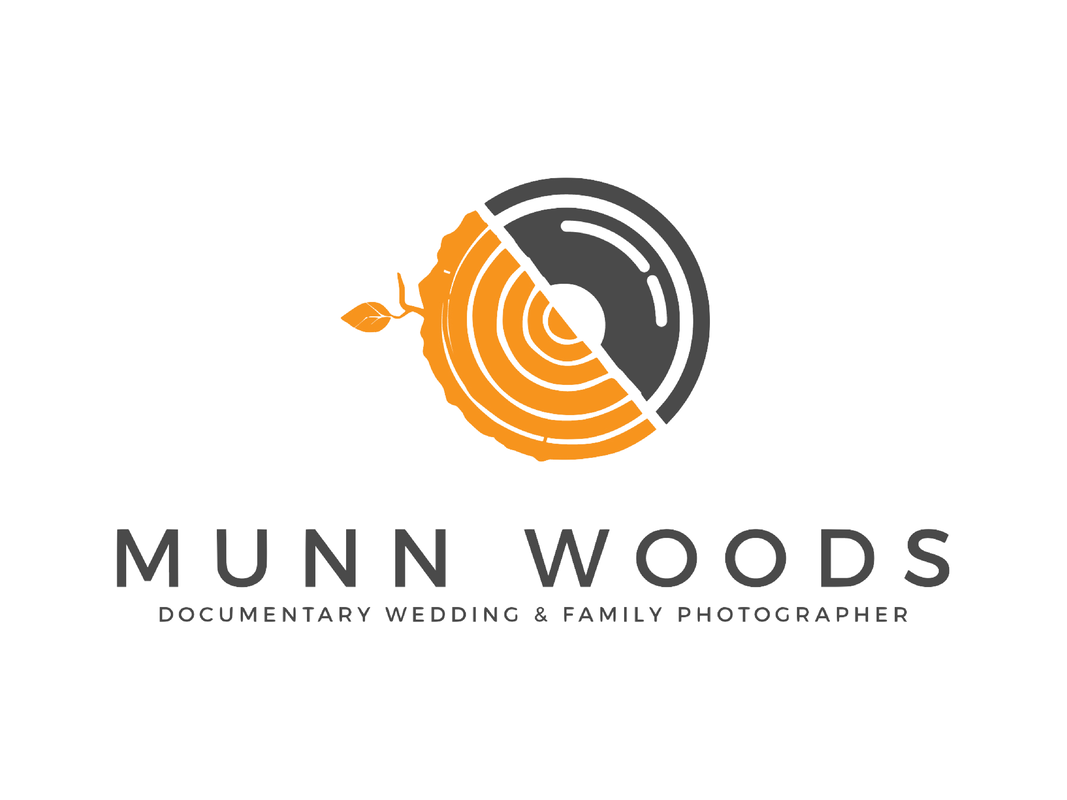 Logo of Munn Woods Studio with tagline: Documentary Wedding and Family Photographer.